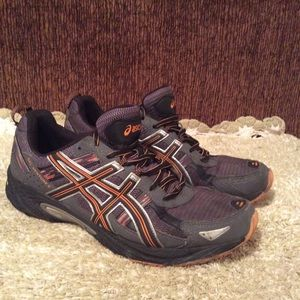 Aasics Men's Black Orange Running Shoe Sz 12